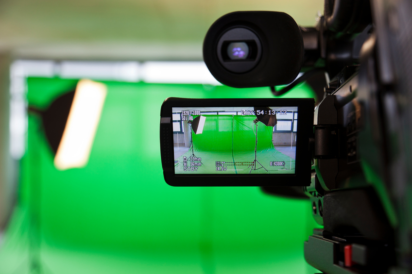 LCD display screen on a High Definition TV camera in a green screen studio. Please see more of my TV related images :
